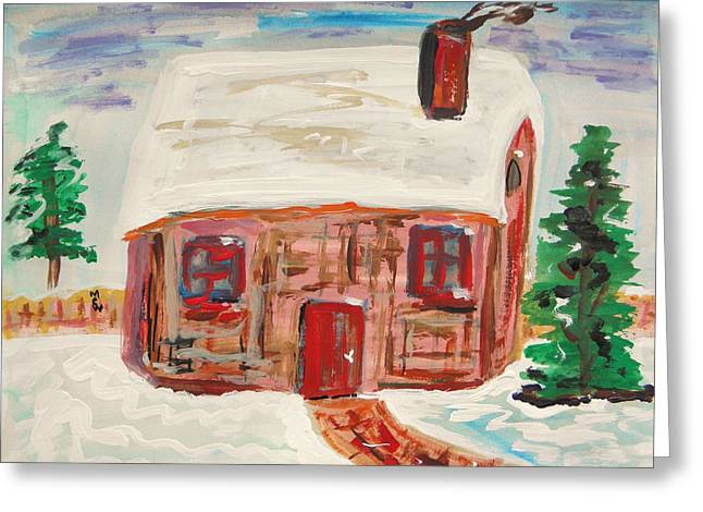 Stone House Drawings Greeting Cards - Red Door Snow House Greeting Card by Mary Carol Williams