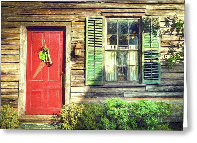 Red Door With Saw Greeting Card