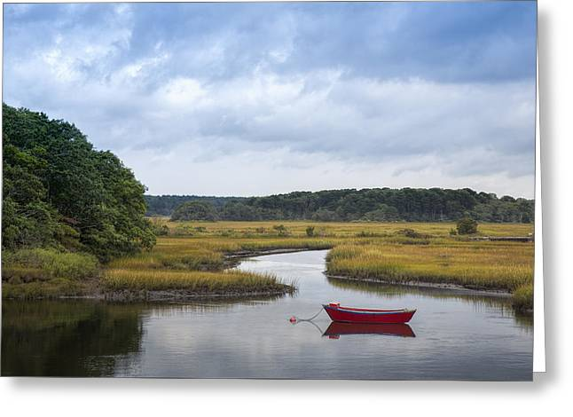 Red Dory In The Marsh Greeting Card by Betty Wiley