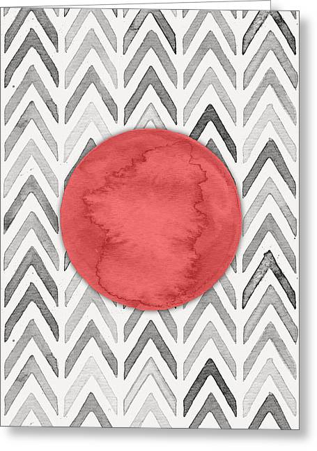 Red Dot On Chevron Watercolor Pattern  Greeting Card by Nordic Print Studio