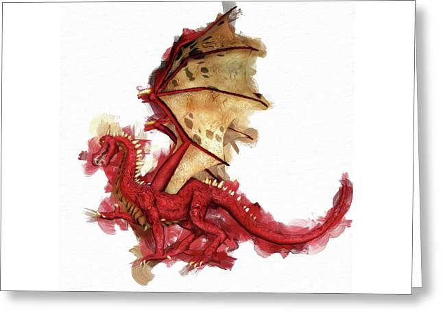 Red Dragon By Mary Bassett Greeting Card