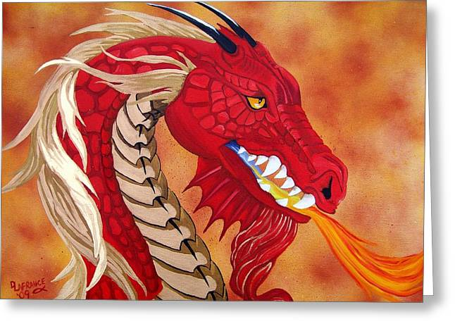 Red Dragon Greeting Card by Debbie LaFrance