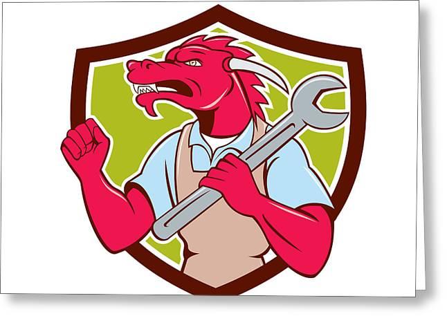 Red Dragon Mechanic Spanner Fist Pump Shield Greeting Card by Aloysius Patrimonio