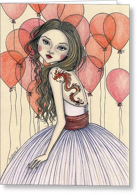 Red Dragon Greeting Card by Snezana Kragulj