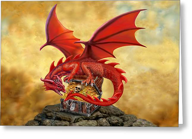 Red Dragon's Treasure Chest Greeting Card by Glenn Holbrook