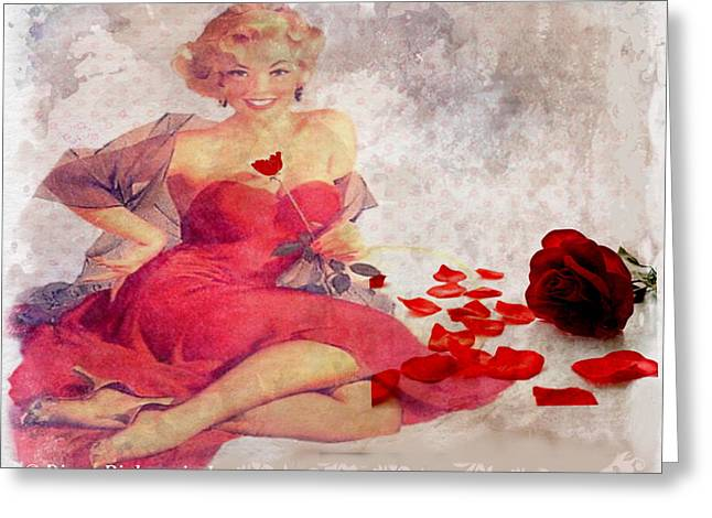 Red Dress Greeting Card by Diana Riukas