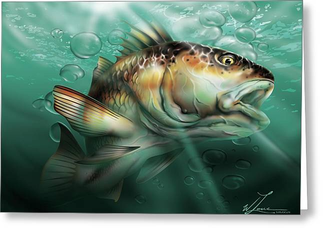 Greeting Card featuring the digital art Red Drum by William Love