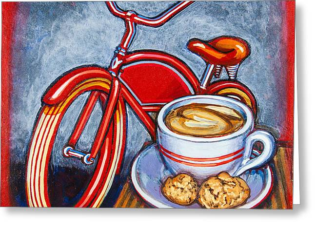 Red Electra Delivery Bicycle Cappuccino And Amaretti Greeting Card by Mark Jones