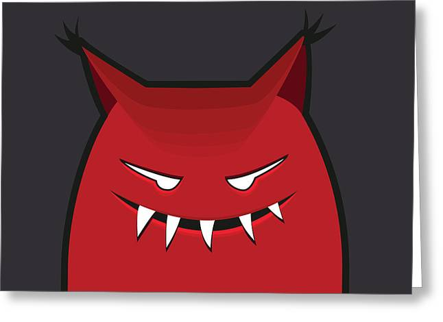 Red Evil Monster With Pointy Ears Greeting Card by Boriana Giormova