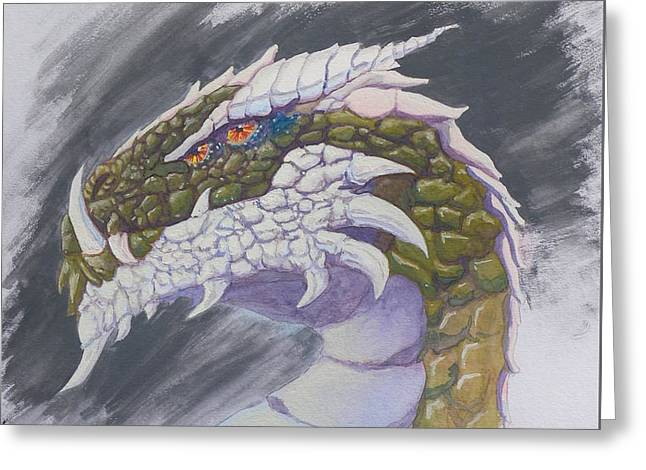 Greeting Card featuring the painting Red Eye Dragon by Robert Decker