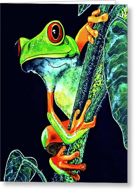 Red Eye Tree Frog Card Greeting Card by Debbie Chamberlin