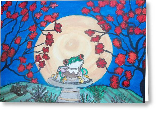 Red Eyed Frog Singing To The Moon Greeting Card by Connie Valasco