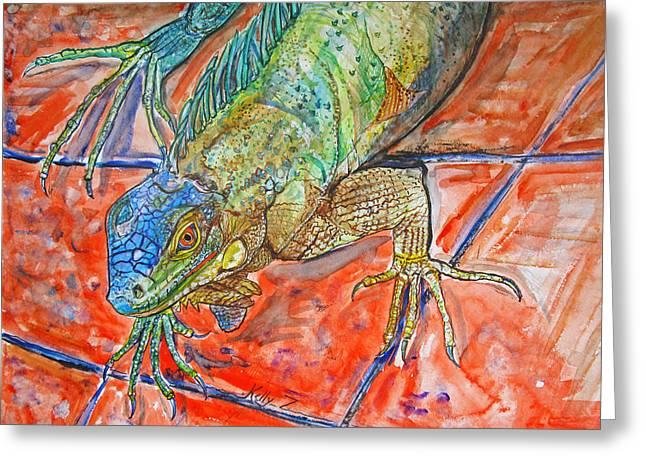 Red Eyed Iguana Greeting Card by Kelly     ZumBerge