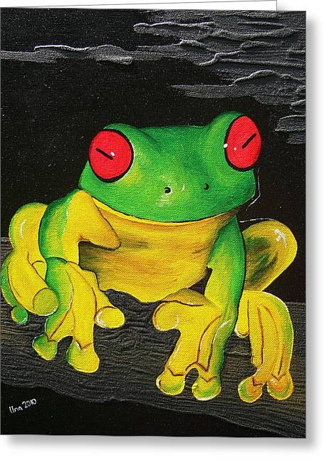 Red Eye's -green Tree Frog  Greeting Card by Una  Miller