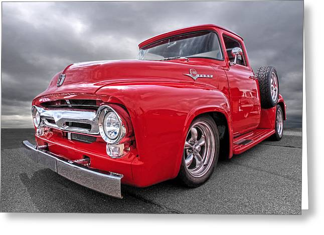 Red F-100 Greeting Card by Gill Billington