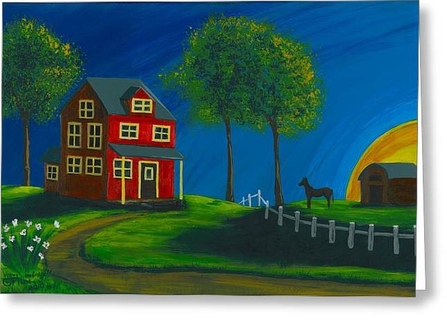 Greeting Card featuring the painting Red Farm House by Gail Finn
