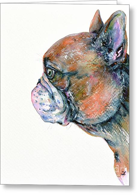 Red Fawn Frenchie Greeting Card