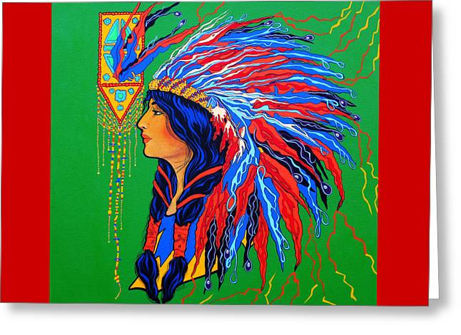 Greeting Card featuring the painting Red Feathers by Debbie Chamberlin
