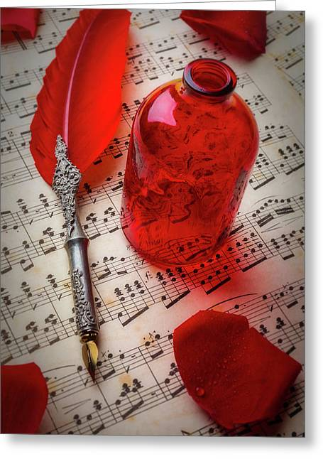 Red Feather Pen And Bottle Greeting Card by Garry Gay