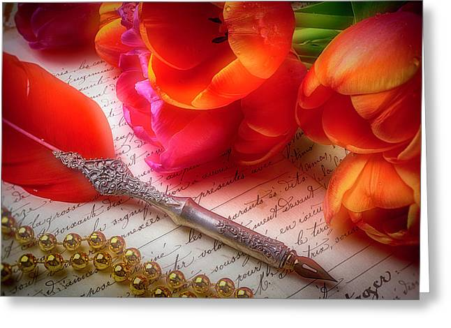 Red Feather Pen And Tulips Greeting Card by Garry Gay