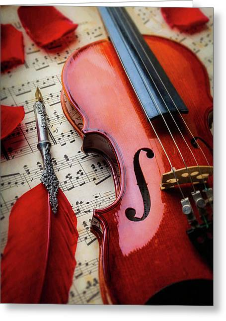 Red Feather Pen And Violin Greeting Card