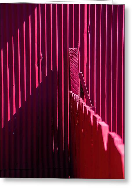 Red Fence And Wall Greeting Card by Garry Gay