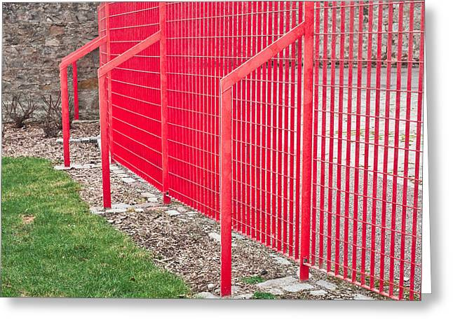 Red Fence Greeting Card by Tom Gowanlock