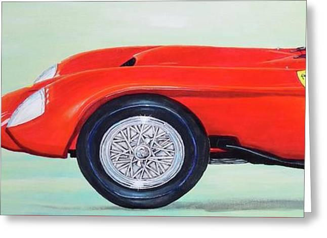 Greeting Card featuring the painting Red Ferrari by Mary Scott