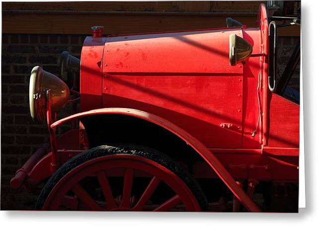 Red Fire Engine Front Greeting Card by Matt Plyler