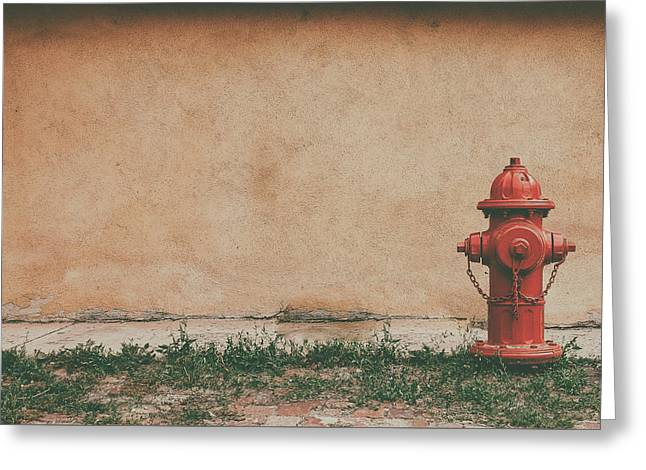 Analog Greeting Cards - Red Fire Hydrant Greeting Card by Asham D Silva
