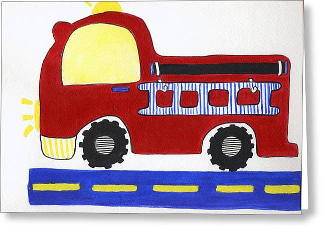 Red Fire Truck Greeting Card by Christine Quimby