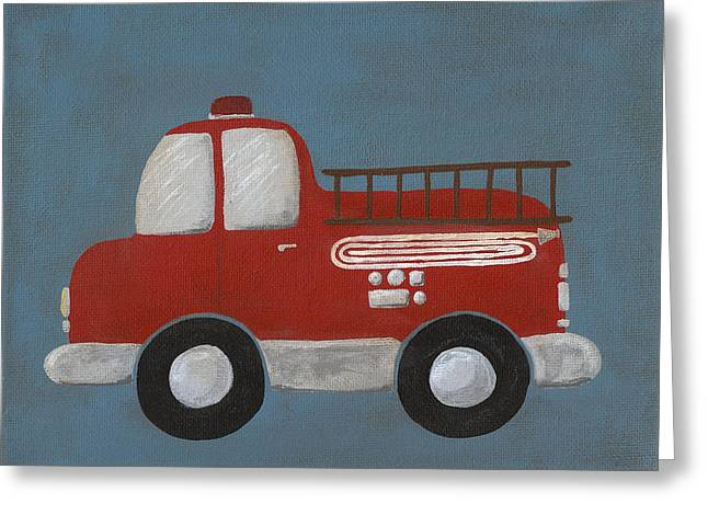 Red Fire Truck Nursery Art Greeting Card by Katie Carlsruh