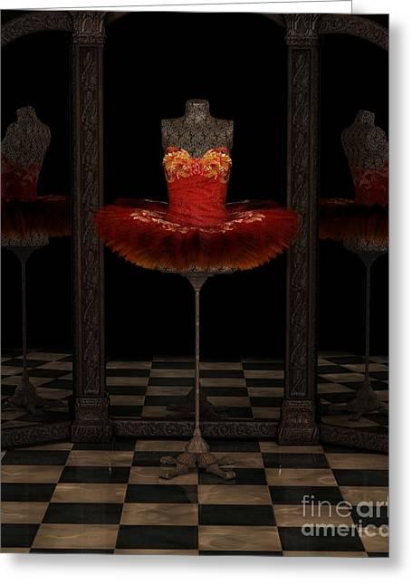 Red Firebird Classical Ballet Tutu Reflections Greeting Card