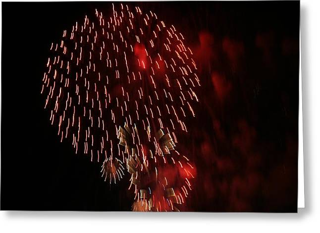 Red Firework Greeting Card by Magda Levin-Gutierrez