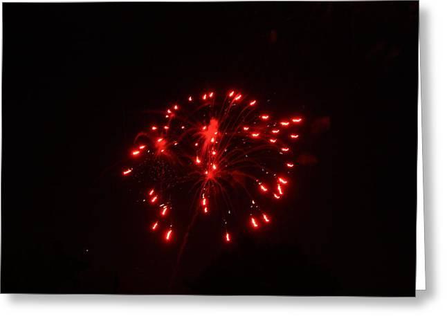 Red Fireworks Greeting Card by JoAnn Tavani
