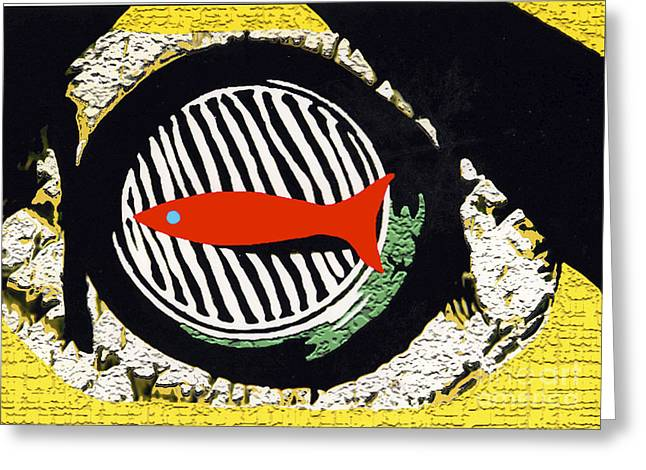 Greeting Card featuring the mixed media Red Fish by Bill Thomson