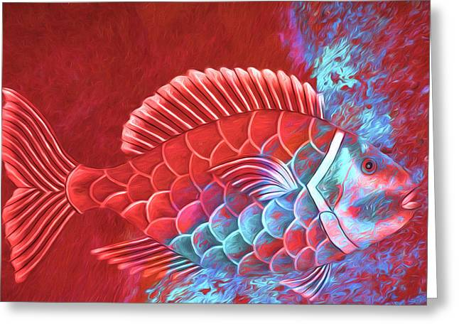 Red Fish Into The Blue Greeting Card by Carol Leigh