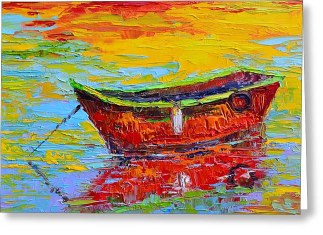 Red Fishing Boat At Sunset - Modern Impressionist Knife Palette Oil Painting Greeting Card by Patricia Awapara