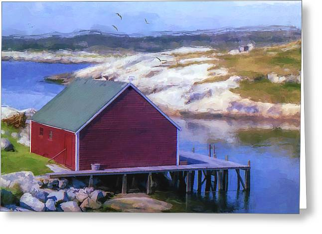 Red Fishing Shed On The Cove Greeting Card by Ken Morris