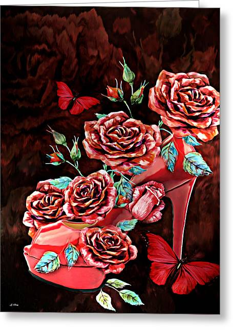 Red Floral Heels Greeting Card