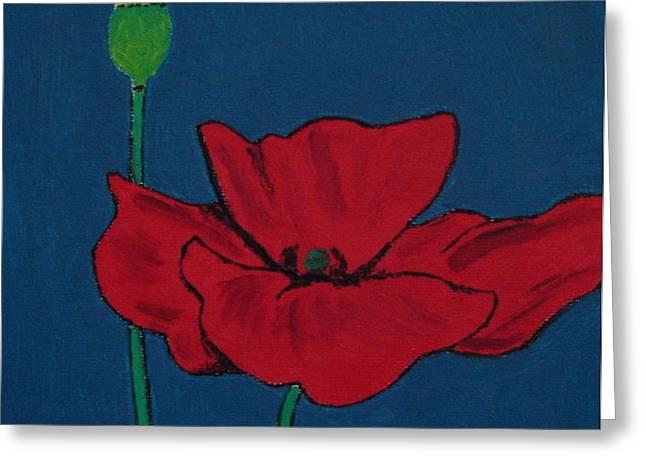 Red Flower Greeting Card by Bo Klinge