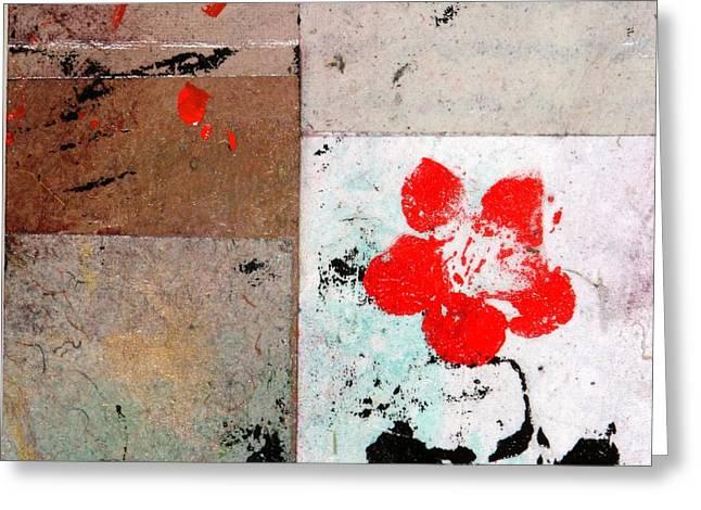 Red Flower Greeting Card by Carolyn Repka