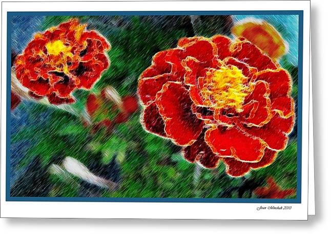 Greeting Card featuring the photograph Red Flower In Autumn by Joan  Minchak