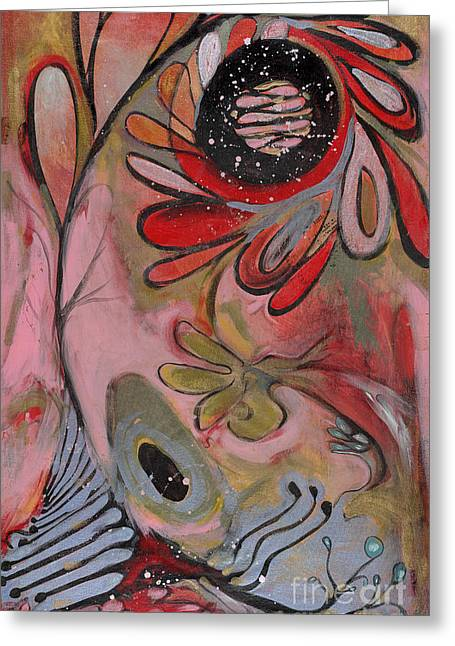 Red Flower Greeting Card by Michelle Spiziri