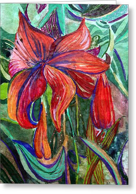 Red Flower Greeting Card by Mindy Newman