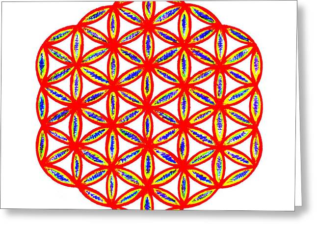 Red Flower Of Life Greeting Card by Chandelle Hazen