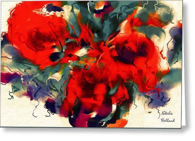 Red Flower Power Greeting Card by Natalie Holland
