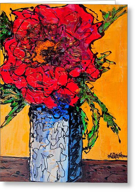 Red Flower Square Vase Greeting Card