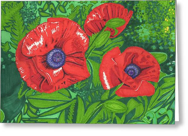 Red Flower Greeting Card by Will Stevenson