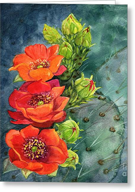 Red Flowering Prickly Pear Cactus Greeting Card